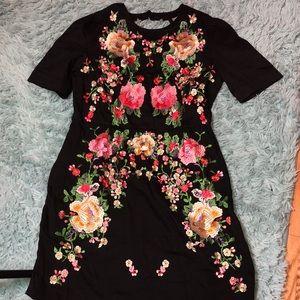 ASOS Black Floral Dress Short Sleeve UK 16 US 12